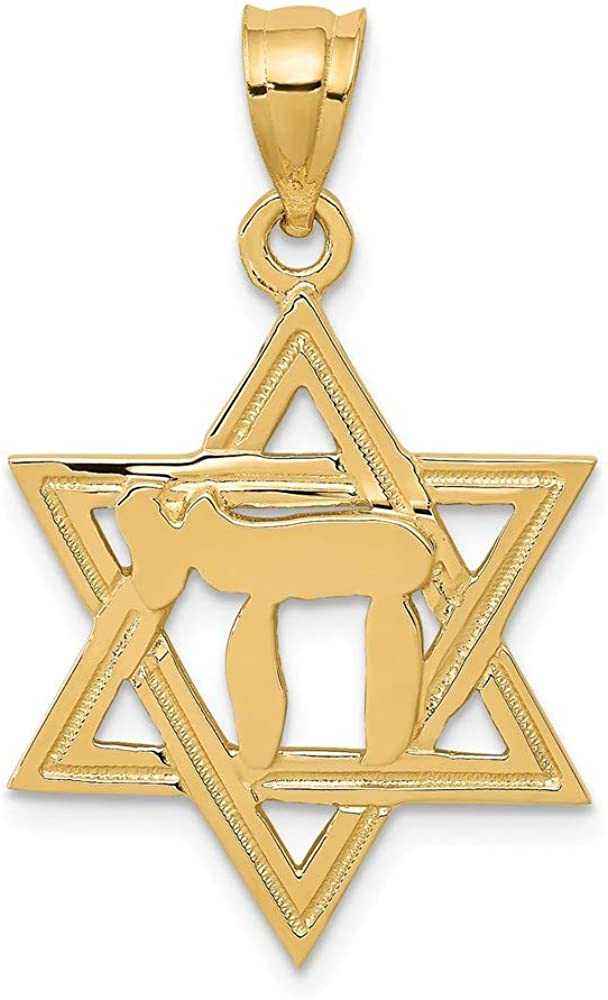 14k Yellow Gold Solid Polish Chai in Star of David Lucky Jewish Charm Pendant - 30mm x 18mm