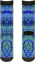 Buckle-Down Unisex-Adult's Socks Tie Dye Green/Blue/Purple Crew, Multicolor,