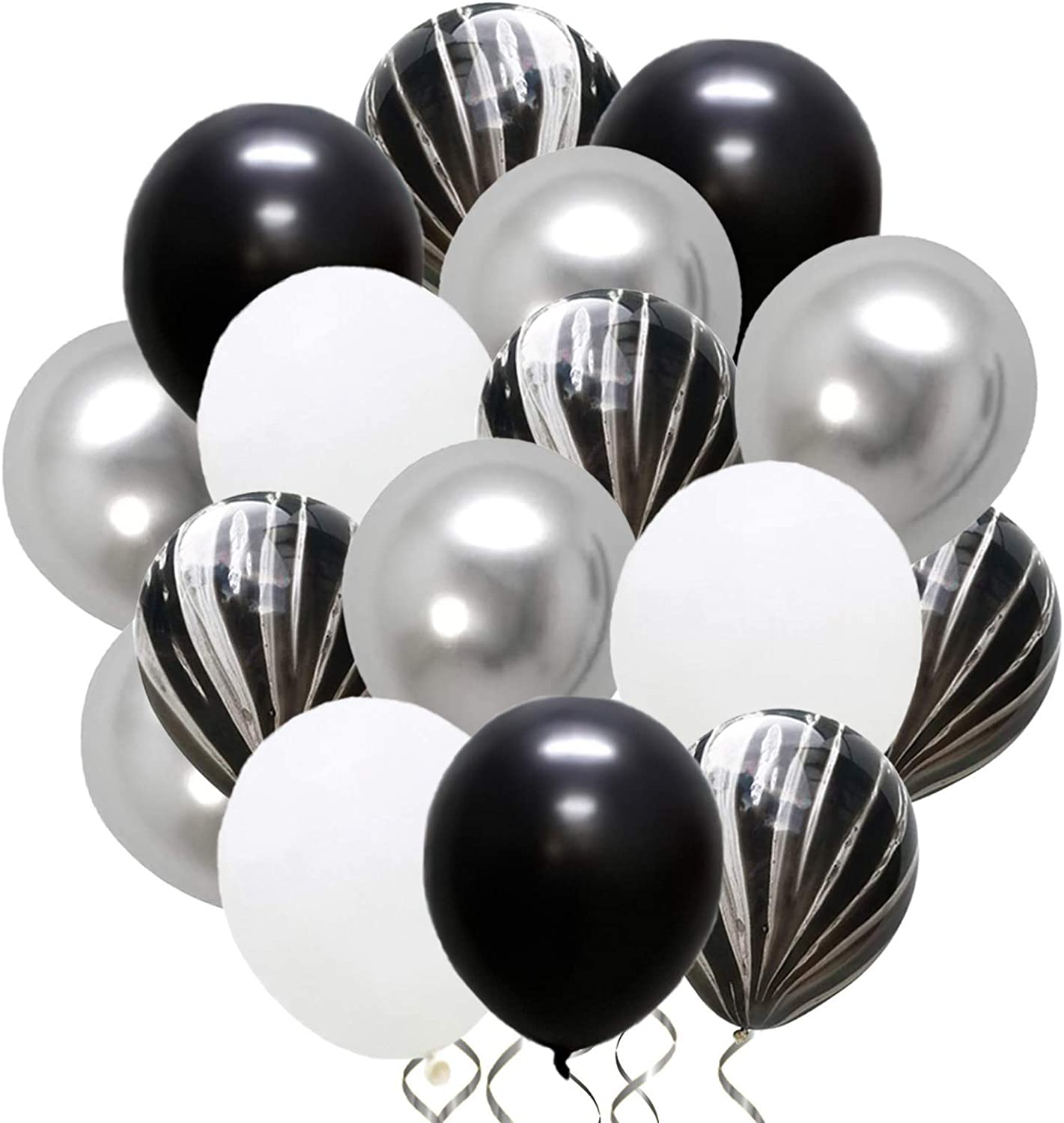 Marble Black and White Silver Party Set, 12 Inches 50 Pcs for Holiday Decoration Birthday Party Wedding Graduation Anniversary Bridal and Baby Latex Balloons, Set106