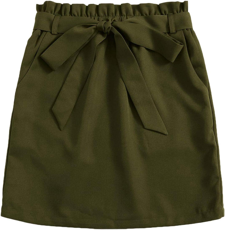 Milumia Women Paperbag Waist Short Skirt Knot Belted High Waist Bodycon Skirt