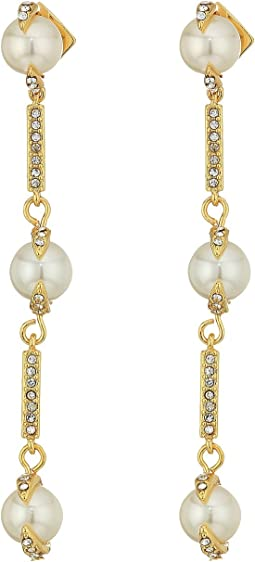 Vince Camuto Pearl and Pave Linear Earrings