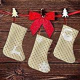 FULIYA (3 paquetes) calcetines de Navidad de 7.5 pulgadas, patrón de bosque con hojas verdes, bellotas y ardillas, tema de guardería para niños, decoraciones de fiesta de Navidad