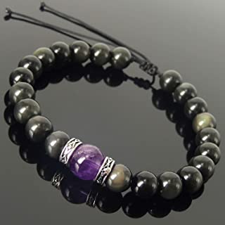 Rainbow Black Obsidian Amethyst Crystal Bracelet for Men's and Women's Protection Braided Bracelet with 925 Sterling Silver Art Deco Spacers Mixed Gemstone Handmade Adjustable Jewelry