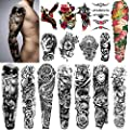 """Yazhiji Extra Large Temporary Tattoos 8 Sheets Full Arm Fake Tattoos and 8 Sheets Half Arm Tattoo Stickers for Men and Women (22.83""""X7.1"""")"""