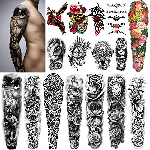 Yazhiji Extra Large Temporary Tattoos 8 Sheets Full Arm Fake Tattoos and 8 Sheets Half Arm Tattoo Stickers for Men and Women (22.83'X7.1')