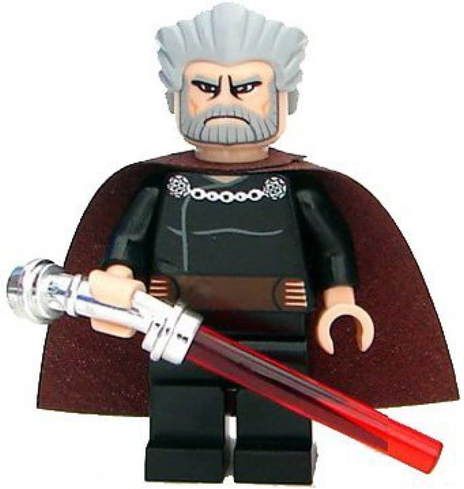 Lego Star Wars Count Dooku service Minifigure Chrome Curved with Li Complete Free Shipping Hilt