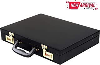 Hard Craft Faux Leather Briefcase Combo Lock Feature Color Black