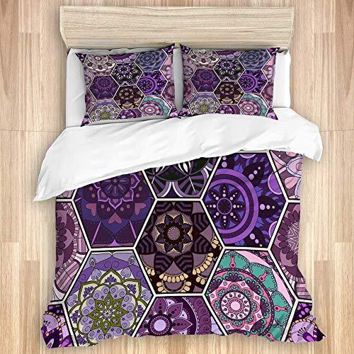 Juego de funda nórdica de 3 piezas, azulejo oriental, mandala de patchwork floral, boho chic, flor rica, hexágono, motivo marroquí portugués, colcha con cremallera para dormitorio con 2 fundas de almo
