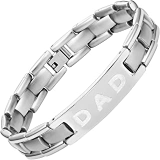 cfcb9e26e Willis Judd Mens Titanium DAD Bracelet Engraved Love You Dad with Gift Box  & Link Removal