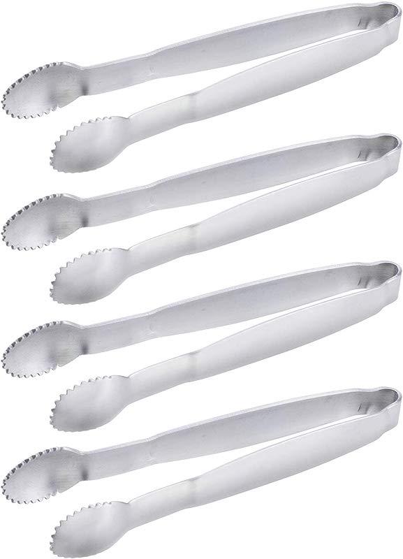 HINMAY Sugar Tongs 4 Inch Mini Serving Tongs Stainless Steel Appetizer Tongs Set Of 4