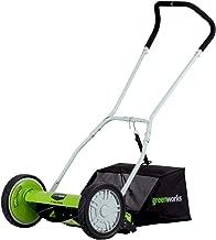 Greenworks 16-Inch Reel Lawn Mower with Grass Catcher 25052 (Renewed)