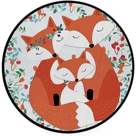 Orediy Tapis rond en mousse doux et léger pour chambre d'enfant - 92 cm - Motif famille de renards