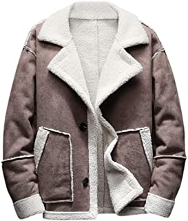 AKIMPE Mens Winter Casual Lamb Cashmere Thickened Pocket Single Row Buckle Jacket Coat