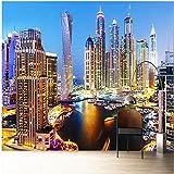 Yologg Fondo De Pantalla 3D Hermoso Dubai Night Landscape Mural Sala De Estar Tv Sofá Oficina Telón De Fondo-120X100Cm
