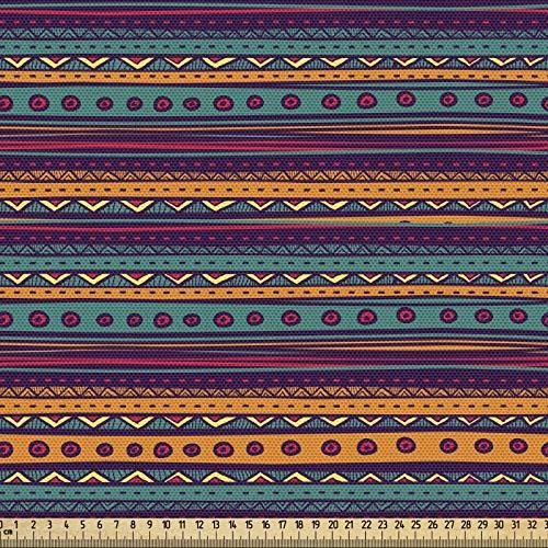 ABAKUHAUS A Rayas Tela por Metro, Arte Retro Azteca Tribal, Decorativa para Tapicería y Textiles del Hogar, 1M (148x100cm), Teal Ciruela Y Naranja