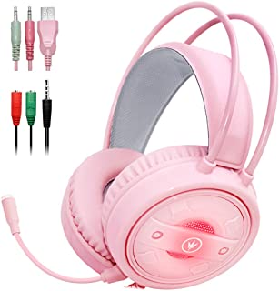 Gaming Headset with Mic and Changeable LED Light for Laptop,Computer, Cellphone, PS4 and Xbox, DLAND 3.5mm Wired Noise Iso...