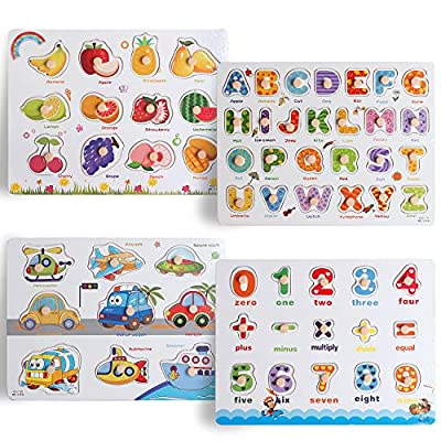 Wood Peg Puzzle Set with 4 in 1 Puzzle Set and Wire Storage Rack ABC, Numbers, Shapes, Vehicles and Animals Educational Puzzles for Kids 3 and Up