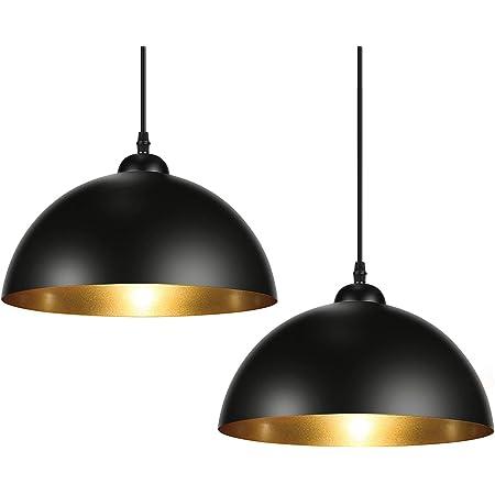 Albrillo Lot de 2 Suspension Luminaire Industrielle - Luminaire Lampe rétro, avec culot E27, Noir doré abat-jour et Ø 30 cm, max. 60W, Plafonnier Rétro pour Salon, Chambre, Restaurant, Café et Bar