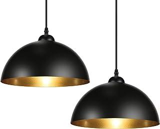 Albrillo Lot de 2 Suspension Luminaire Industrielle - Luminaire Lampe rétro, avec culot E27, Noir doré abat-jour et Ø 30 c...