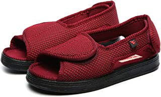 CWAIXXMM Men's Diabetic Shoes, Open Toe Diabetic Slippers Unisex Memory Foam Nursing Shoes Breathable Widening Adjustable ...