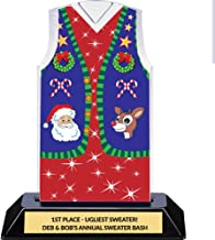 Ugly Christmas Sweater Vest Trophy - Tacky Sweater Award - Customize Engraving