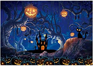 Funnytree 7x5ft Halloween Themed Photography Backdrop Moon Night Spooky Forest Pumpkins Lantern Background Dead Trees Haunted House Party Banner Cake Table Decorations Photo Booth