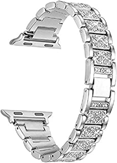 HEMOBLLO 38mm Metal Crystal Watch Band Replacement Wristband Strap for Apple Watch(Silver)