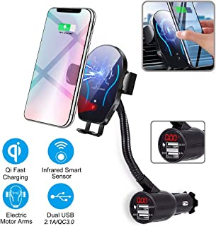 Wireless Car Charger Holder, Car Cigarette Lighter Wireless Charger Phone Holder Mount Infrared Smart Sensing Holder Qi Fast Wireless Charging Cradle Car Cradle for Cell Phone Dual USB