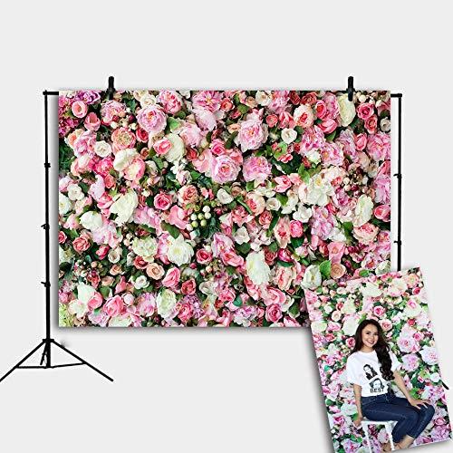 Daniu 7x5ft Rose Flowers Wall Background Vinyl Photography Backdrops Newborns Photo Prop for Studio