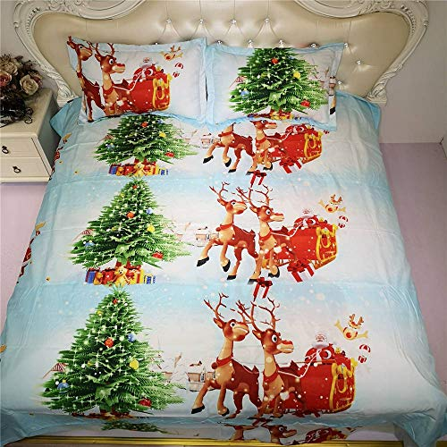 HWDDDEB Cartoon Christmas Tree Sleigh Car Duvet Cover Set For Boy Girl Single Double King Bed, King 220X230 Cm 3D Bedding Set Microfiber Teenager Children Kids Printed Bedroom Duvet Set With Pillowc