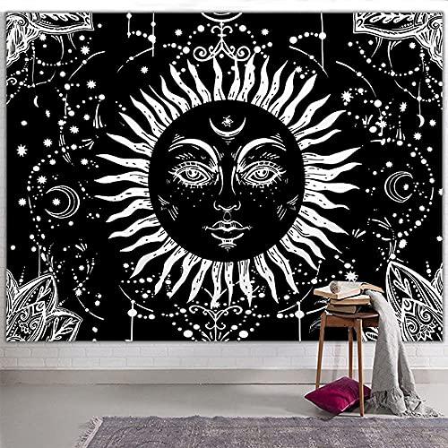 Sol y Luna Tapiz Pared Mandala Tapices Tela Decoracion, Tarot Tapestry Psychedelic Aesthetic Wall Rug Blanket Manta Decorativa Colgante Pared para Dormitorio Sala de Estar, 200x150 cm (Negro 2)