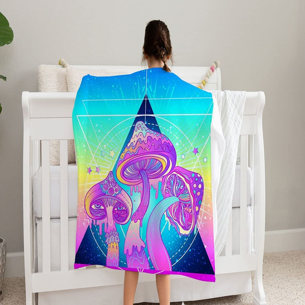 LPVLUX Magic Mushrooms Over Psychedelic Geometry low-pricing Blanket Sacred Outlet ☆ Free Shipping