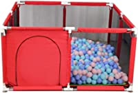 Baby Playpen with Crawling Mat Ocean ball Toddler Crawling Fence Kids Activity Center Kids Safety Playpen Anti-Fall Protective Fence Durable (Red)