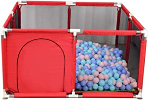 Indoor Anti-Fall Baby Playpen Durable Strong Guardrail Baby amusement park Square Children s Play Fence with Crawling Mat Colored Ball two colors Red Blue  -128 66cm
