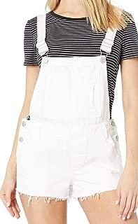 Blank NYC Womens White Denim Short Overalls in Lightbox White