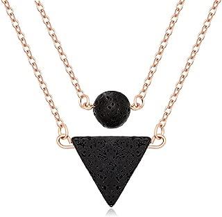 Lava-Rock Stone Pendant Essential Oil Diffuser Multilayer Necklace for Women