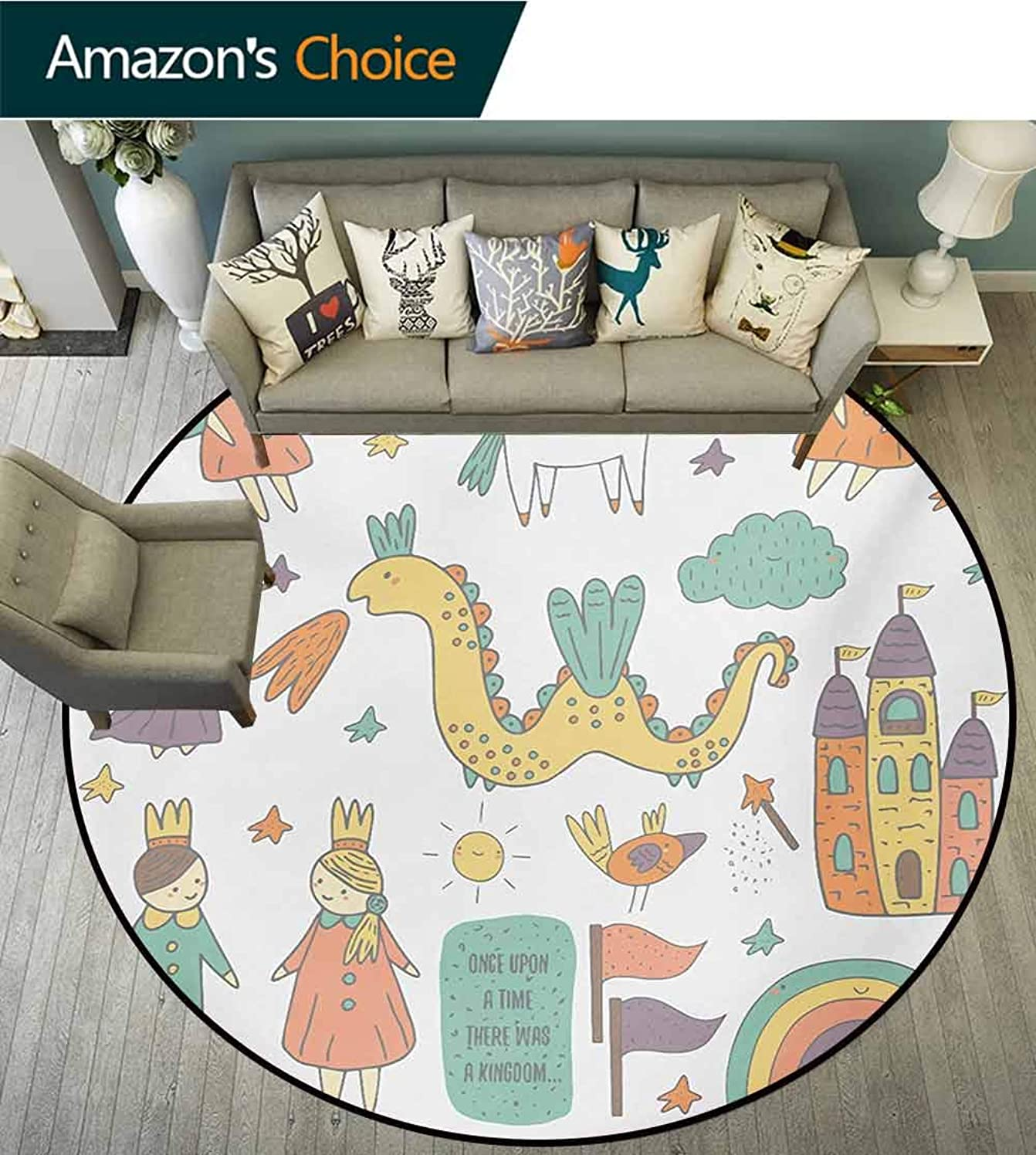 RUGSMAT Fantasy Non-Slip Area Rug Pad Round,Doodle Style Dragon Fairies Royalty and Wizard Middle Ages Heroic Legend Elements Protect Floors While Securing Rug Making Vacuuming,Diameter-51 Inch