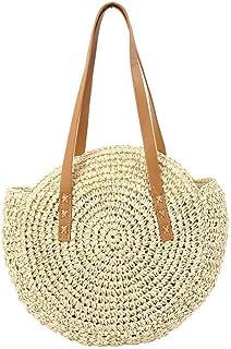 GSERA Frauen Handgewebte Tasche Runde Rattan Stroh Böhmen Stil Beach Circle Strandtaschen