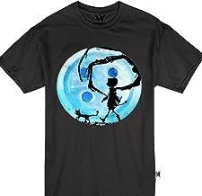 Coraline Blue Full Moon Nightmare Cat Halloween Horror Button Tshirt
