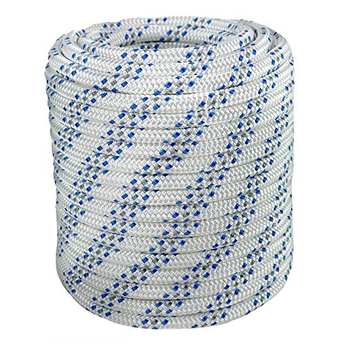 Double Braid Polyester Arborist Bull Rope | Rigging Hoisting Line | High Strength Tree Rope | Made in USA | 1/2 inch x 100 feet