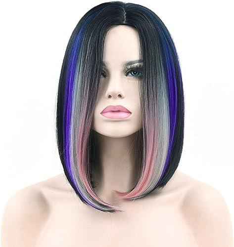 BMY Kunsthaar Schwarzbis braun Farbe Kurze gerade perücken hochtemperaturfaser bob Cosplay perücke für Frauen