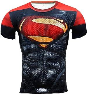 Red Superman Compression Shirt Dri Fit Superhero Running Top