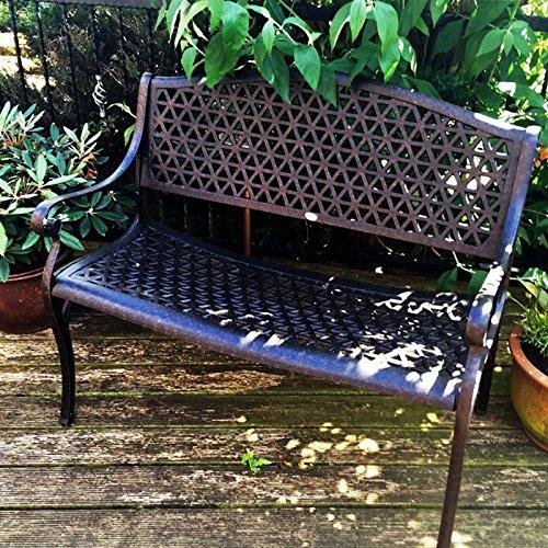 Lazy Susan – JULY Gartenbank und SANDRA Quadratischer Kaffeetisch – Gartenmöbel Set aus Metall, Antik Bronze (Beiges Kissen) - 2