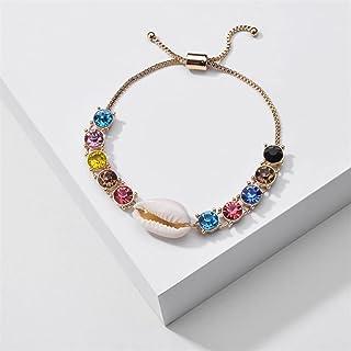 مجوهرات عصرية قابلة للتعديل ملونة حجر الراين شل سحر سوار للنساء سلسلة حساسة أساور يانجين (اللون: ذهبي)