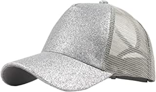 SOVLEE Ponytail Baseball Cap Women Messy Bun Summer Mesh Hats Casual Sport Sequin Caps Outdoors Caps Adjustable