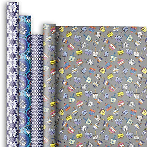 Premium Gift Wrapping Paper Jumbo Roll Assortment, Hanukkah Designs (4 Rolls)