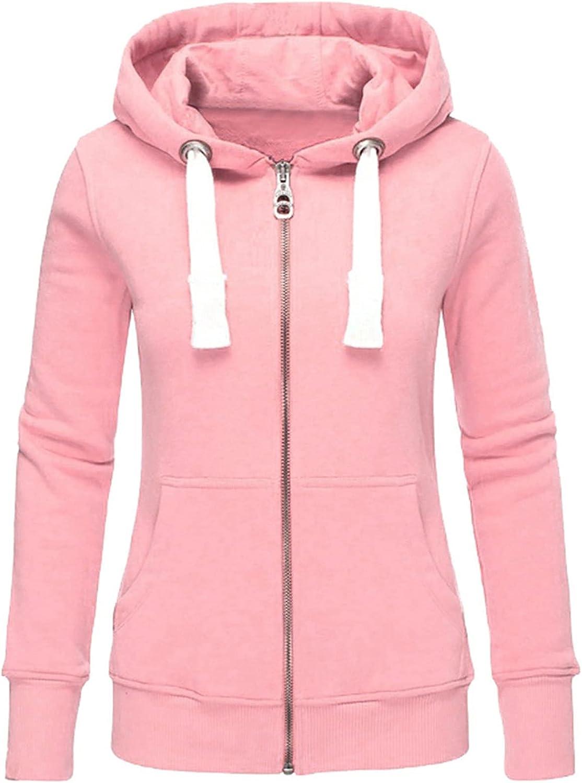 JPVDPA Womens Long Sleeve Sweatshirt Pullover Comfortable Lightweight Zip-Up Hoodie Solid Hooded Pocket