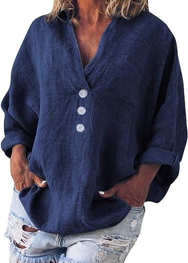 LANSKIRT Camisa Mujer Manga Larga Camiseta Lino Casual Escote ...