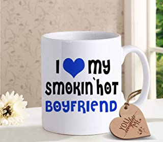 TIED RIBBONS Coffee mug for Boyfriend Girlfriend with Wooden Tag - Romantic Gift for Him or Her - Ideal Birthday, Anniversary Gift for Husband Wife