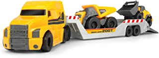 Dickie Toys 203725005 Mack Truck with 2 Volvo Vehicles, Dump Truck & Wheel Loader Trailer for Disconnecting, Movable Part...